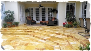 Gold Travertine Steps and Deck