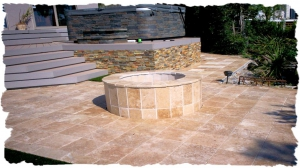 Walnut Travertine Firepit